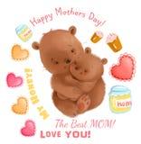 Le thème mignon de fête des mères d'ours avec des détails aiment des coeurs, ensemble de clipart de miel Photo stock