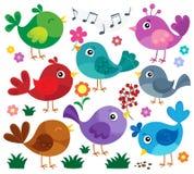 Le thème stylisé d'oiseaux a placé 1 illustration stock
