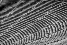 Le théâtre antique Epidaurus, Argolida, Grèce rame dans B&W Photos stock