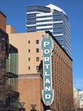Le théâtre et le signe historiques de Portland. Images stock