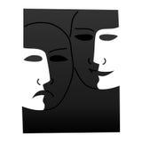 Le théâtre masque triste chanceux - illustration Photos stock