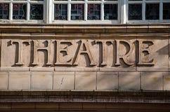 Le théâtre signent dedans la terre cuite images stock