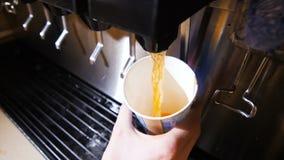 Le thé aromatique de vue étroite s'est renversé dans la tasse de la machine en café banque de vidéos
