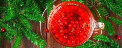 Le thé chaud des canneberges dans une tasse en verre entourée par le sapin s'embranche sur une table en bois photo stock