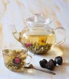 Le thé chinois est dans une théière et une cuvette Images stock