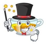 Le thé de camomille de magicien a isolé avec la mascotte illustration de vecteur