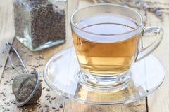 Le thé de fines herbes sain de lavande dans la tasse en verre avec la lavande fleurit sur le fond, horizontal Photographie stock