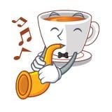 Le thé en bon état de tasse de trompette étant isolé avec le caractère illustration de vecteur