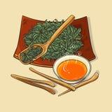 Le thé sec avec des outils de thé et le thé roulent Illustration Stock