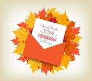 Le thanksgiving heureux enveloppe des feuilles d'érable illustration stock