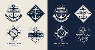 Le themplate inspiré du logo nautique de style, emblème conçoit Label de mer de vintage Images stock
