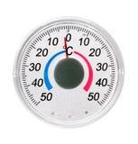Le thermomètre de rue sur le blanc Photographie stock libre de droits