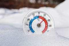 Le thermomètre extérieur dans la neige montre à la température chaude la source thermale nous Photos libres de droits