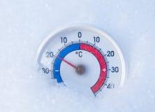 Le thermomètre extérieur dans la neige montre sans 19 degrés Celsius W froid Image libre de droits