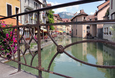 Le Thiou Canal, Annecy, France. View of the Thiou Canal through bridge crossing, Annecy, France Stock Photos