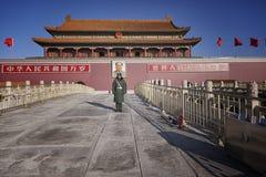 Le Tiananmen, porte de paix merveilleuse, Pékin, aéroport de la Chine Images stock