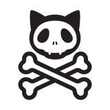 Le tibie incrociate del cranio del gatto vector il simbolo dell'illustrazione del fumetto del gattino di Halloween del pirata di  illustrazione vettoriale