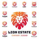 Le tigre et les lions font face à l'illustration sauvage de vecteur de puissance prédatrice de force d'insigne de logo Photo stock
