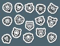 Le tigre et les lions font face à l'illustration sauvage de vecteur de puissance prédatrice de force d'insigne de logo Photo libre de droits