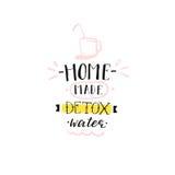 Le timbre créatif de signe de l'eau de detox d'abrégé sur tiré par la main vecteur avec la maison moderne manuscrite de citation  Image libre de droits