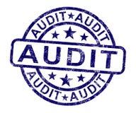 Le timbre d'audit montre l'examen de comptabilité financière Image stock