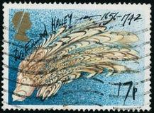 Le timbre de cru imprimé en Grande-Bretagne 1986 montre la comète de Halley images libres de droits