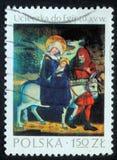 Le timbre de Noël imprimé en Pologne montre le vol vers l'Egypte Photo libre de droits