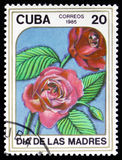 Le timbre imprimé au CUBA montre à image de les roses rouges Photo stock