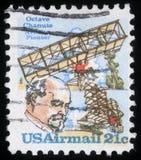 Le timbre imprimé aux Etats-Unis d'Amérique montre l'octave Chanute Photographie stock