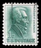 Le timbre imprimé aux Etats-Unis montre le 7ème Président Andrew Jackson Photographie stock