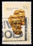 Le timbre imprimé dans l'Australie montre Burke et volontés photographie stock libre de droits