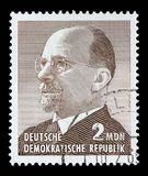Le timbre imprimé en Allemagne montre le chef de l'Allemagne de l'Est à partir de 1950 à 1971 Walter Ulbricht Images stock
