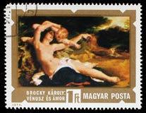 Le timbre imprimé en Hongrie montre Vénus et Amor par Karoly Lotz Image libre de droits
