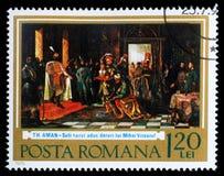 Le timbre imprimé en Roumanie montre la première union des états roumains Photo libre de droits