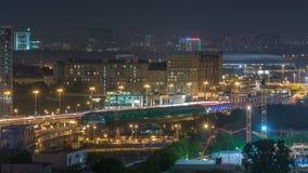 Le timelapse de Moscou, la vue de nuit du troisième anneau de transport et la partie centrale de ` s de Moscou sonne, trafique, d banque de vidéos