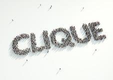 Le tir aérien d'une foule des personnes recueillent clique pour former mot ' Image stock