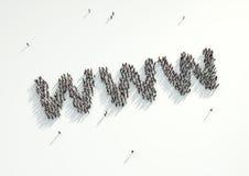 Le tir aérien d'une foule des personnes recueillent pour former l'Internet de WWW Image stock