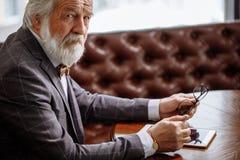 Le tir cultivé de l'homme d'une chevelure blanc avec la moustache et la barbe se sent isolé Photos stock