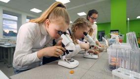 Le tir de steadicam de la fille ajustant le microscope 4K banque de vidéos