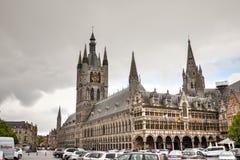 Le tissu Hall-Ypres, Belgique Images libres de droits