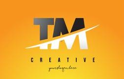 Le TM T M Letter Modern Logo Design avec le fond jaune et le Swoo illustration libre de droits