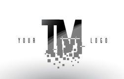 Le TM T M Pixel Letter Logo avec les places noires brisées par Digital Photographie stock