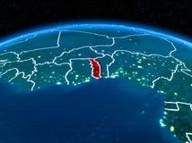Le Togo de l'espace la nuit Image stock