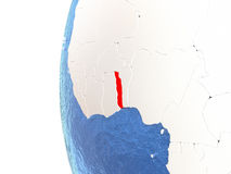 Le Togo sur le globe Photo stock