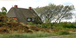 Le toit a couvert la maison de chaume image libre de droits