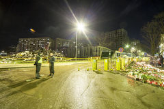Le toit du supermarché s'est effondré à Riga, Lettonie, l'Europe Image libre de droits