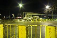 Le toit du supermarché s'est effondré à Riga, Lettonie, l'Europe Image stock