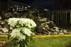 Le toit du supermarché s'est effondré à Riga, Lettonie, l'Europe Photos stock
