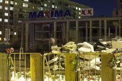 Le toit du supermarché s'est effondré à Riga, Lettonie, l'Europe Images stock