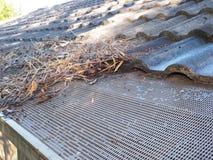 Le toit résidentiel de maison avec la moitié a nettoyé des gouttières Image stock